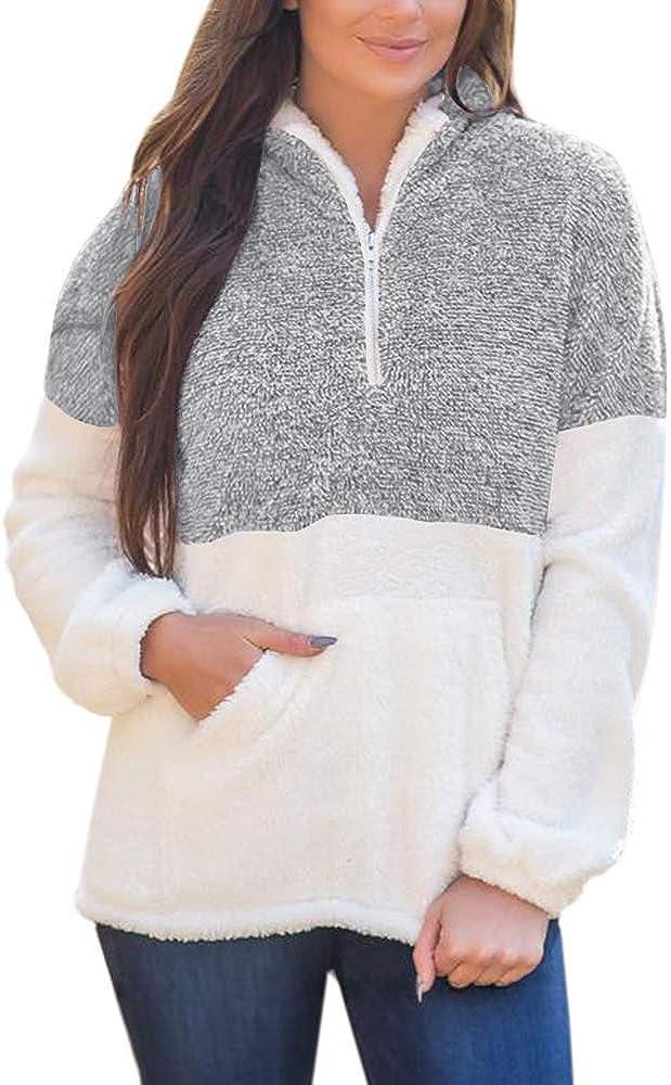 Yskkt Womens Plus Size Sherpa Pullover Sweatshirt Half Zip Fuzzy Fleece Jacket Winter Coat Outwear with Pockets