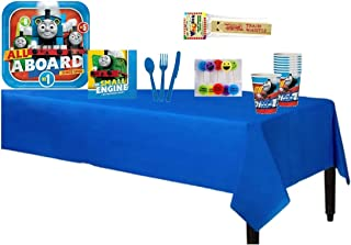 """All Aboard Thomas The Train Tank Engine Complete Party Pack for 8 includes 9"""" Dinner Plates, Napkins, Cups, Tablecover, Cake Deco Candles & Cutlery with BONUS 1pc Extra Large Wooden Train Whistle"""