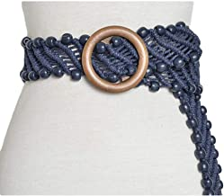 Fashion Belt National wind waist chain New vintage pattern handmade wax rope woven wooden buckle decorative belt Durable (Color : Blue, Size : 100-135CM)