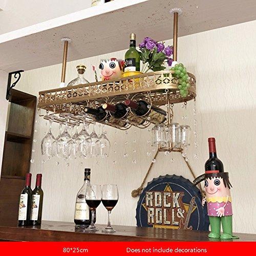 YAXIAO Europäischer Bar Rotwein-Becherhalter Umgedreht Home Rack Weinglas Zierständer, 80 × 25 cm Weinflaschenhalter (Color : Gold, Size : 80 * 25cm)