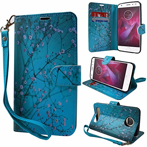 Compatible Motorola Z Force Droid Case, Moto Z Force Droid Wallet Case, Wrist Strap Flip Folio [Kickstand] Pu Leather Wallet Case with ID&Credit Card Slot For Motorola Z Force Droid (Teal Blossom)