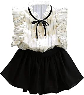 amropi Girl's Striped Flying Sleeve Lotus Collar Tops and Shorts Clothes Set for 3-8 Years