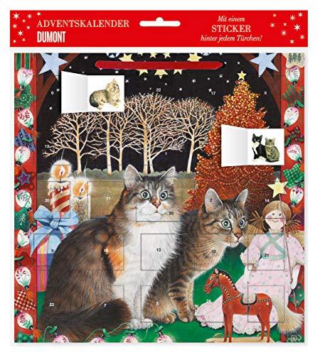Adventskalender Ivory Cats 2 – mit 24 Stickern – mit Glitzer – mit rotem Stoffband – Format 30 x 30 cm