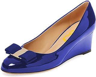 FSJ Women Elegant Wedge High Heels Pumps Closed Toe Slip On Formal Bowknot Dress Shoes Size 4-15 US