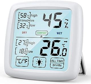 Temperatura/Igrometro Digitale Professionale per Interni con Ampio Touch Screen, Indicatore di Comfort, Igrometro Casa/Uff...