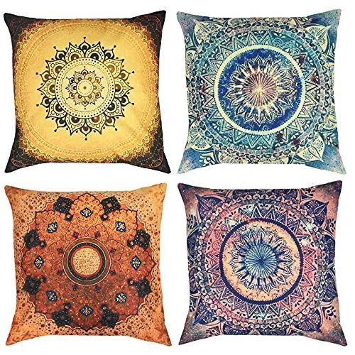 YancLife 4 fundas de cojín de 45 x 45 cm, indio, hippie, bohemio, mandala, flores, decoración, universal, algodón, lino, para salón y dormitorio