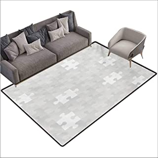 Outside The Door Rug Grey Abstract Puzzle Patterns in Simple Background Shabby Mosaic Ornament Idea Kids Children Country Home Decor W70 xL82 Gray