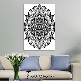 SfeatruAngel_SOSUNG Home Bedroom Decoration Modern Framed Artwork,Mandalas Coloring Book Flower Shape Oriental Therapy(18