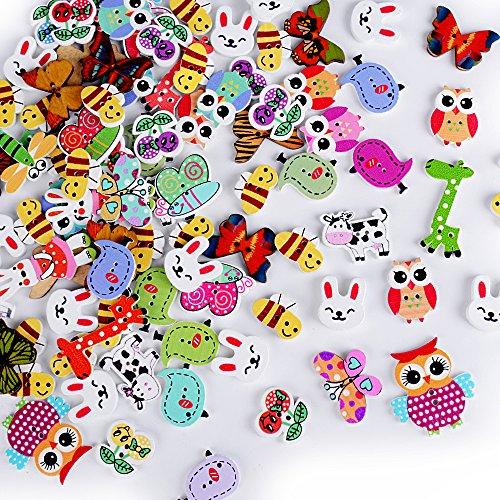 AONER 100 Stück Holzknöpfe Tiere Knöpfe Nähen Knöpfe Holzknopf zum Selberaufnähen Handwerk Basteln Nähen