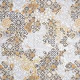 Fabulous Fabrics Dekostoff Canvas Ornamente – grau/senf
