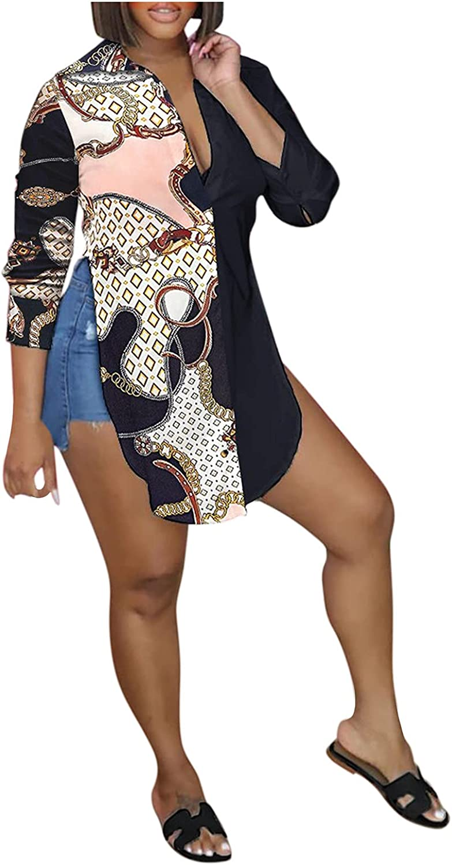 Women Print Long Sleeve Shirt Casual V-Neck Curved Hem Button-Down Blouse Fashion Top