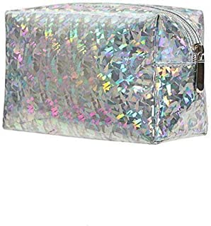Holographic Cosmetic bag,Easeu Women's Iridescent Glitter Laser Hologram Make Up Bag Rainbow Shiny Prism Organizer Toiletry bag-Silver