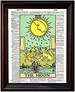 Tarot Moon - Dictionary Art Print Printed On Authentic Vintage Dictionary Book Page - 8 x 10.5