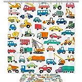 TIZORAX Cartoon Cars Bad Duschvorhang Set mit Rutschfesten Badezimmer Teppiche Bodenmatte Dekoration