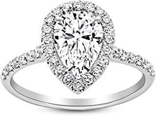 1.5 Carat GIA Certified 14K White Gold Halo Pear Cut Diamond Engagement Ring (1 Ct K Color SI2 Clarity Center)