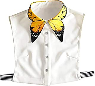 LANGUGU Stylish Detachable Half Shirt Blouse False Collar Yellow Butterfly Pattern Collar Dickey Collar