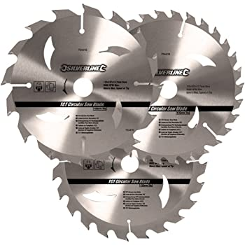 Silverline TCT Circular Saw Blade TRIPLE PACK 150 x 20mm 16, 24 /& 30 Teeth