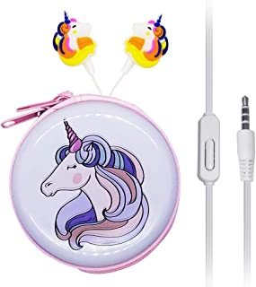 in Ear 3D Cute Cartoon Animal Unicorn Earbuds Headphones with Mic with Earphone Case Hands-Free Yellow J12