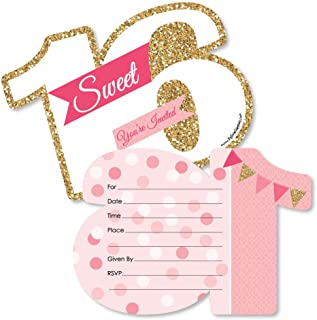 Big Dot of Happiness Sweet 16-16th Birthday - Shaped Fill-in Invitations - 16th Birthday Party Invitation Cards with Envelopes - Set of 12