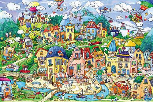 FFLFFL Puzzle de Madera de 6000 Piezas-Happy Town Puzzle 6000 Piezas