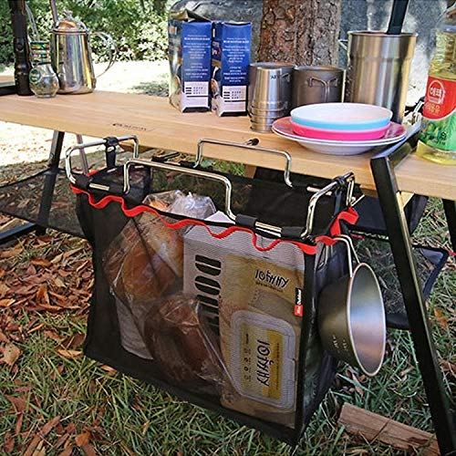 YOUZHIXUAN Suministros de Camping Picnic al Aire Libre Camping Cesta de Malla Plegable Soporte de Metal Soporte de Utensilios Organizador Rack
