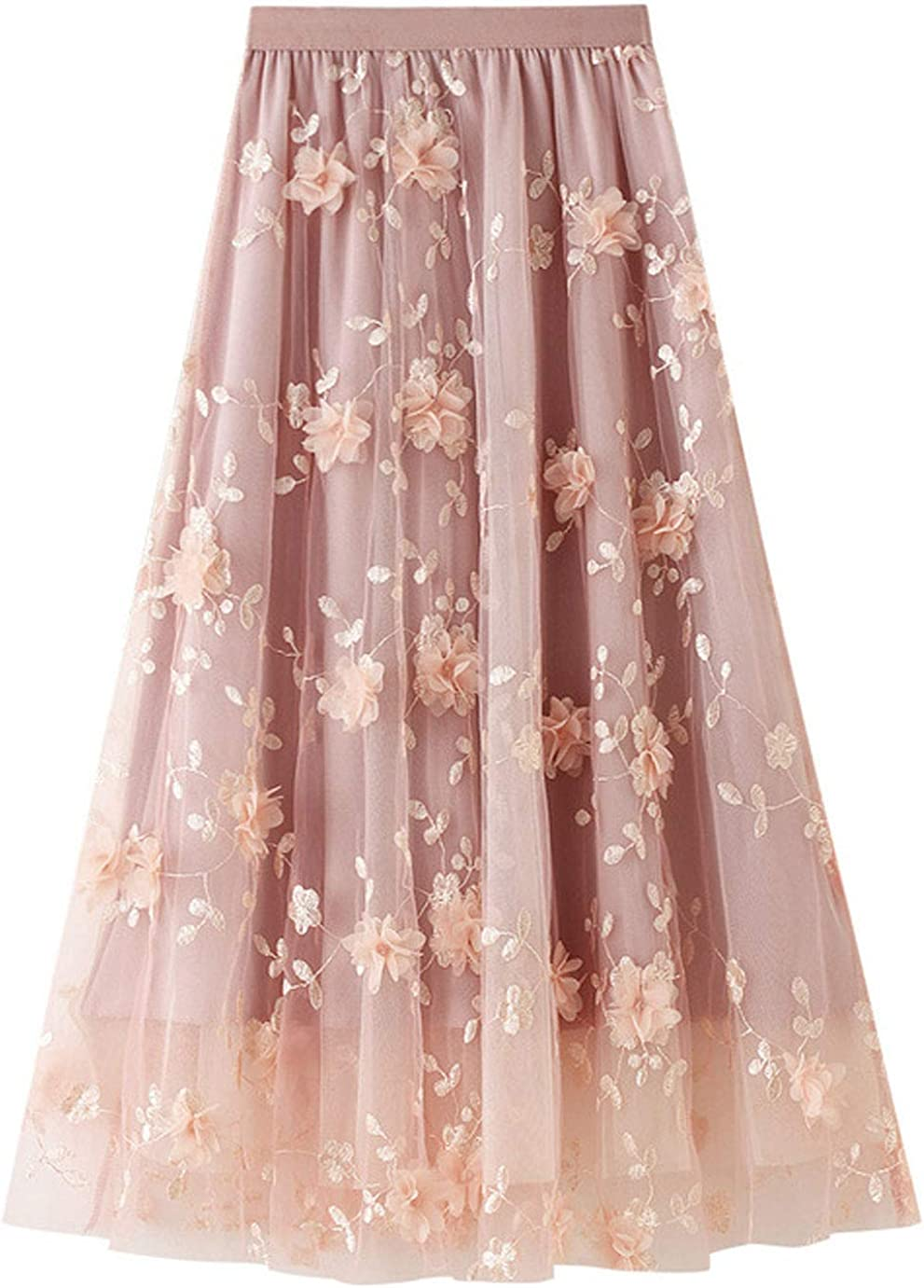 CHARTOU Women's High Waist Floral Lace Sheer Mesh Tulle Midi A-Line Pleated Layered Skirt
