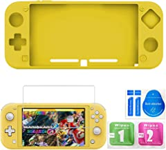 Silicone Suit for Nintendo Switch Lite,Switch Mini Game Console Protection Soft Rubber Sleeve+9H HD Tempered Glass Screen Protectors and Accessories(Yellow)