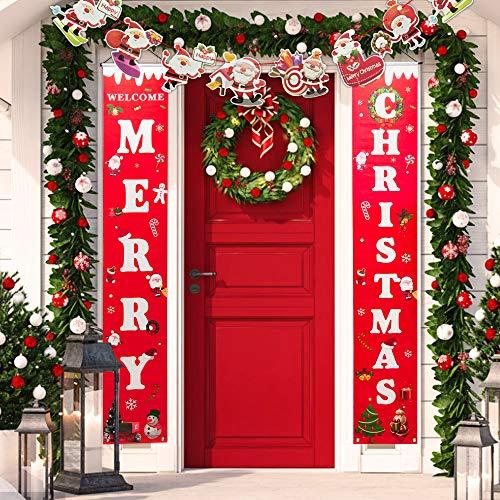 BUZIFU Frohe Weihnachten Banner, Willkommen Weihnachtsdeko Amerikanisch Weihnachten Veranda Schild Hängend Weihnachtsgirlande mit Santa Claus Ammer Banner für Indoor Outdoor Partei Dekorationen