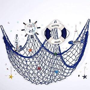 32 Decoraciones de Colgande de Pared de Náutico, Incluyes Decoración Welcome Aboard, Volante de Barco de Madera, Conchas Marinas de Resina, Ancla de Gancho Colgante, Peces de Mar, Estrella de Mar