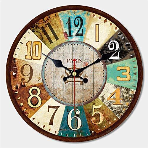 PMWLKJ Diseño de vajilla Vintage Reloj de Pared Grande Creative Silent Home Cafe Cocina Relojes de Pared Relojes Decoración para el hogar Relojes de Pared Retro 40 cm (16 Pulgadas) Gris