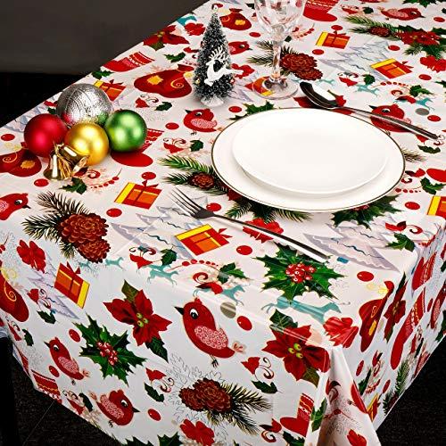 Mogokoyo 4 Stück Einweg PVC Tischdecke Weihnachten Tischtuch mit Muster Gedruckt für Rechteckige Tische im Indoor und Outdoor Weihnachten Party Garten, 110x180cm(Rotdorn)