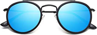 Small Round Polarized Sunglasses Double Bridge Frame...