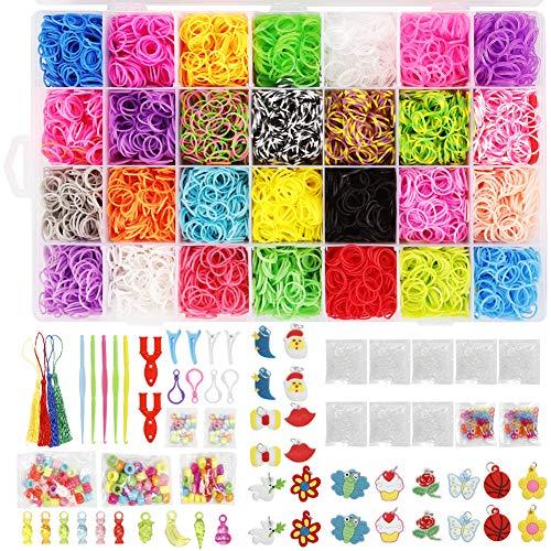 Buntes Gummibänder-Set, 28 Farben, 10.600 Stück, für Kinder zum Selbermachen von Schmuck und Perlen, in Aufbewahrungsboxen mit Anhängern, Clips, Perlen, Haken