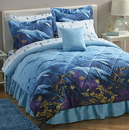 Dolphins Under The Sea Full Comforter, Sheets, Shams & Bed Skirt (8 Piece Bed In A Bag) + BONUS HOMEMADE WAX MELT