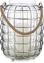 Boho Traders Iron and Glass Candle Holder with Jute Handle, Nickel, Clear