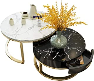Lcxliga Marble Living Room Table Sets  Heavy Duty Set of 2   Round Occasional Coffee & Nesting End Tables for Small Spaces