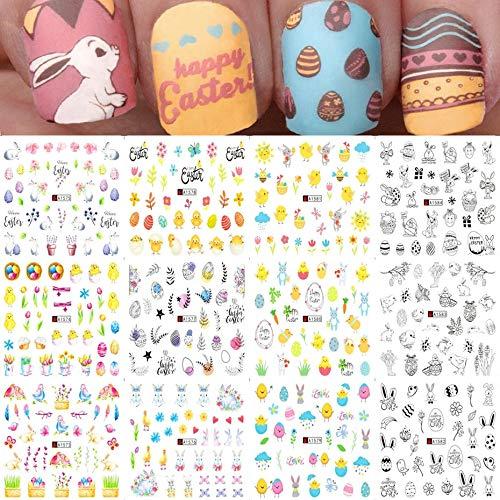 12 Uds Huevos de Conejo de Pascua Pegatinas de Agua para uñas de Dibujos Animados Polluelo Pato Polaco envolturas calcomanías DIY decoración de uñas manicura SAA1573-1584