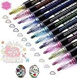 Outline Stift, 12 Farben Double Line Outline Pen Glitzer Zweizeiliger Stift Wasserfester Stift Schnelltrocknend für Geschenkkarten, DIY Poster,Gästebuch, Grußkarten, Graffiti, Kunst & Hobby