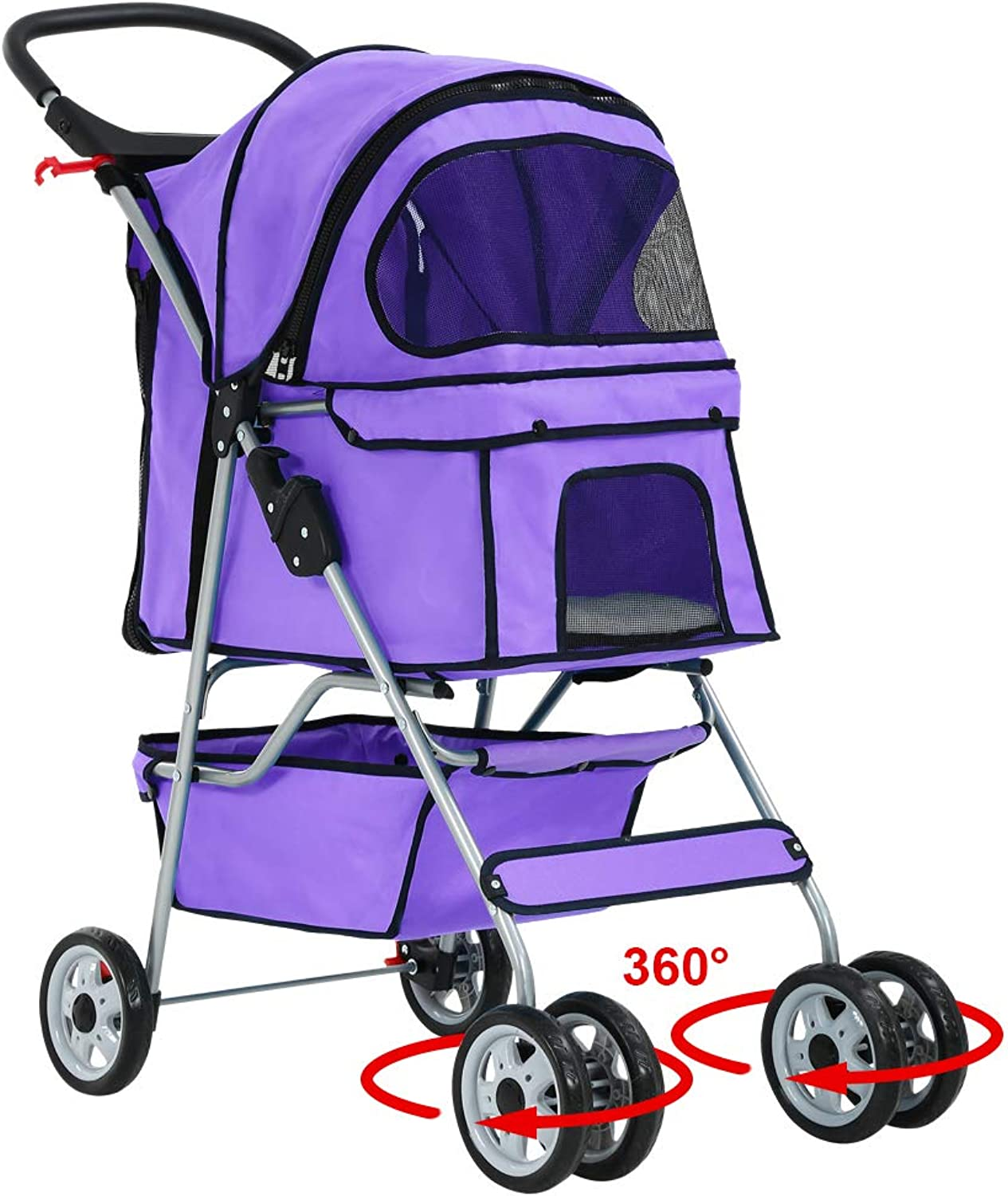 Purple 4 Wheels Pet Stroller Cat Dog Cage Stroller Travel Folding Carrier 04T by BestPet