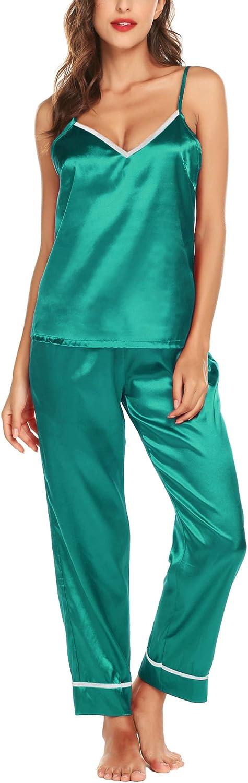 Romanstii Satin Pajamas Set Silk Sleepwear Cami Nightwear Gift Lingerie PJ Set