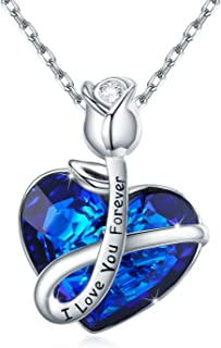 AOVEAO Rose Necklace 925 Sterling Silver Love Heart Pendant Necklace for Women Wife Girlfriend Blue Heart Crystals Jewelry