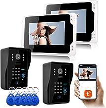 Video Deurbel, Intercom, 1080P Nachtzicht RFID Wachtwoord Home Security 7 Inch Video Deurtelefoon, 2 Monitor Display + 2 C...