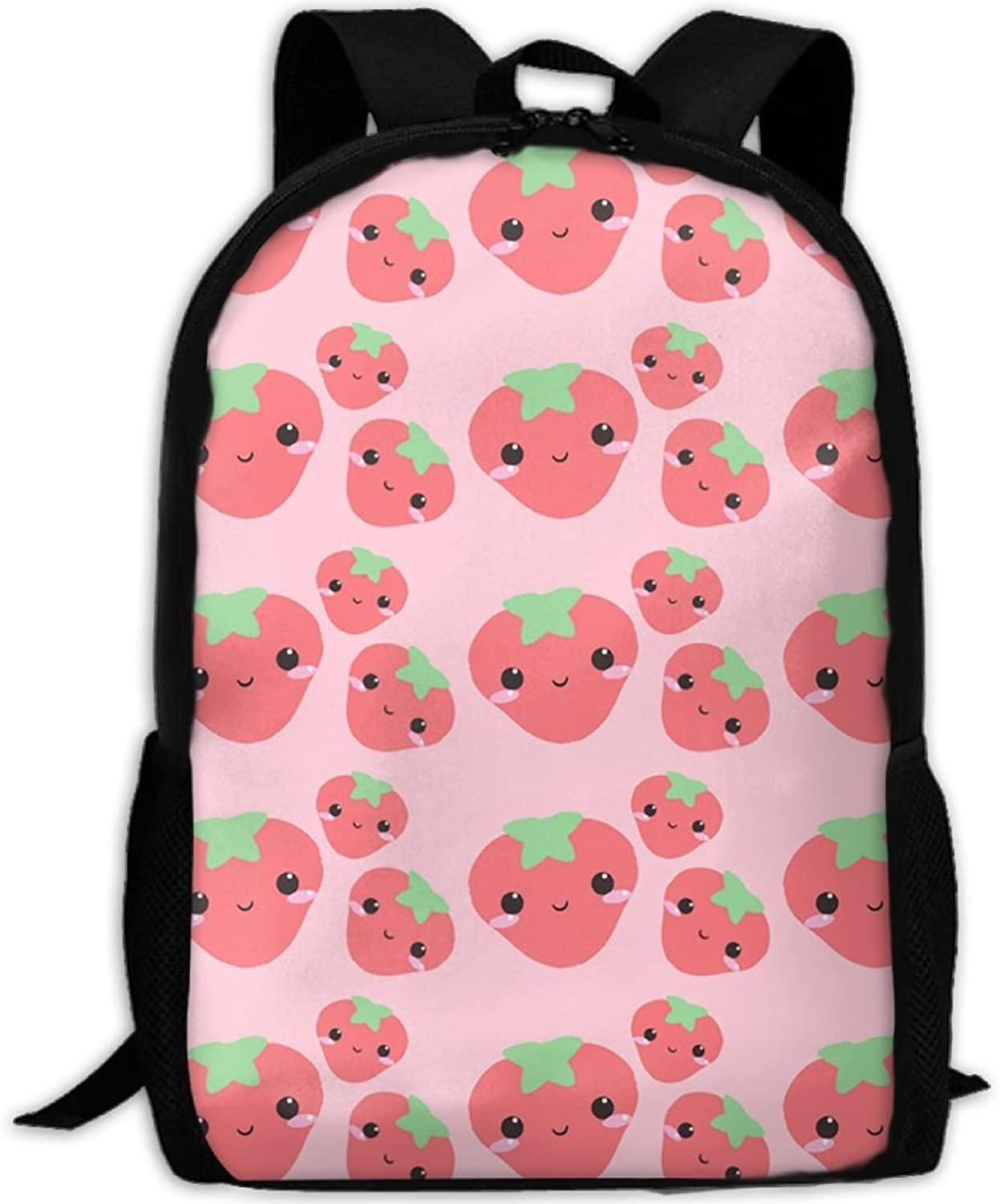Adult Backpack Kawaii Strawberry College Daypack Oxford Bag Unisex Business Travel Sports Bag with Adjustable Strap