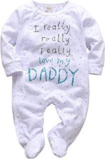 Baby Boys Girls Romper I Really Love My Daddy and Mummy Print Jumpsuit