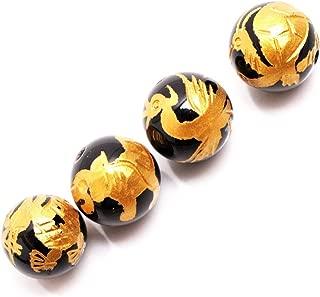 GEM-inside Natural 12mm Black Agate Beads Carved Golden Dragon Tortoise White Tiger Phoenix Unisex Dragon King Pattern Buddha Mala Loose Beads For Jewelry Making 4Pcs (GM15679)