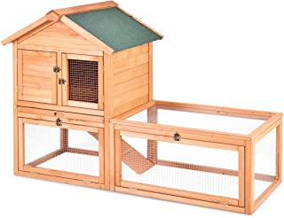 Tangkula Chicken Coop Outdoor Wooden Chicken Coop Garden Backyard Farm Bunny Hen House Rabbit Hutch Small Animal Cage Pet Supplies for Chicken, Duck, Rabbit, etc