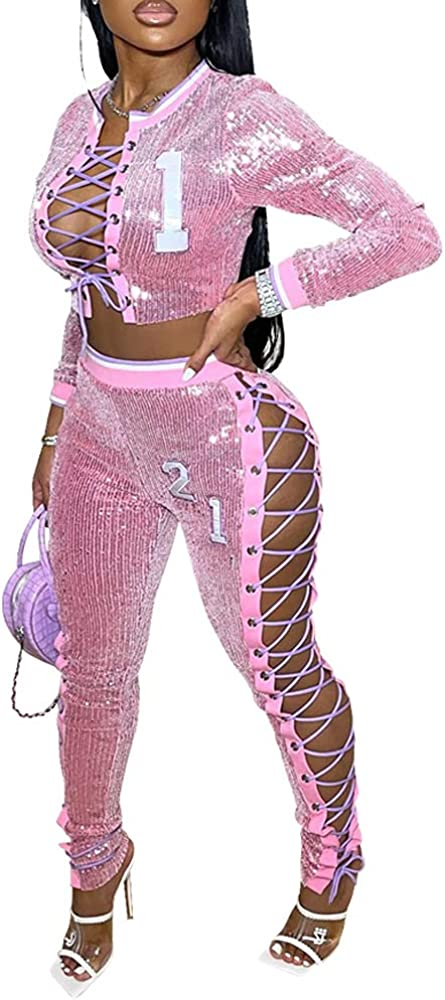 Women 2Piece Set Sequin Long Sleeve Bandage Open Front Crop Sweatshirt Bodycon Legging Pants Y2k Streetwear