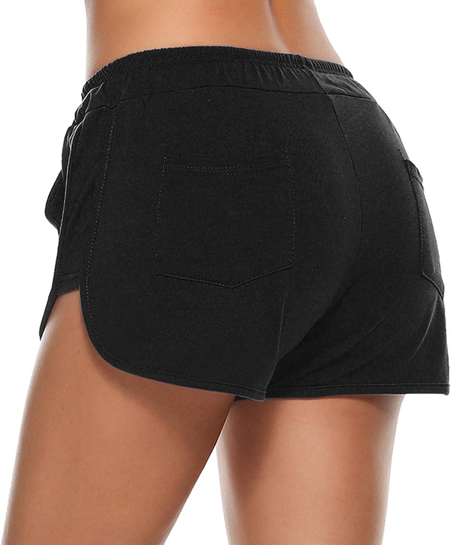 Aibrou Women Shorts Ladies Casual Summer Beach Holiday Workout Walking Elastic Waist Short Trousers