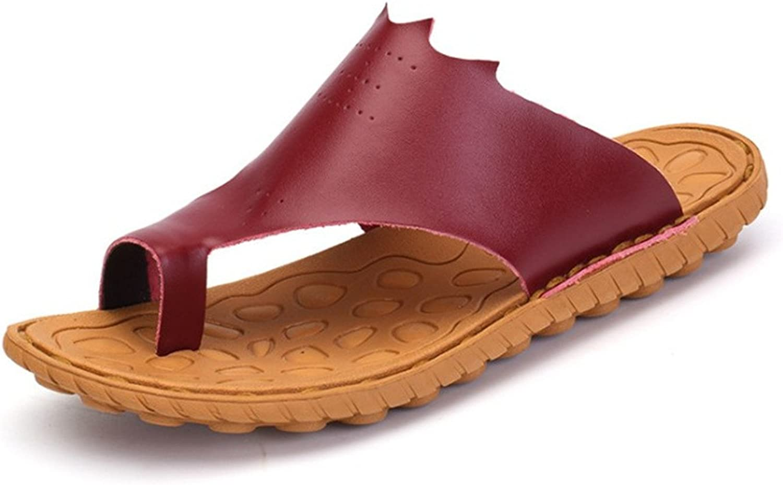 BININBOX Men's Flip-Flops Flat Sandal Breathable shoes Slippers Rubber EVA Sole Red