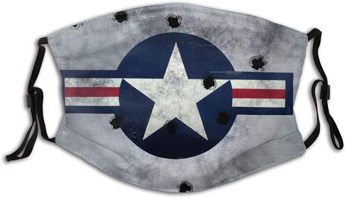 MOTINE Face Cover Great Image USAF Star Roundel On Grunge Metal with Bullet Holes Balaclava Unisex Reusable Windproof Anti-Dust Mouth Bandanas Neck Gaiter with 2 Filters